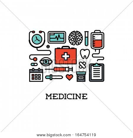 Flat line icons set of  medicine. Creative design elements for websites, mobile apps and printed materials