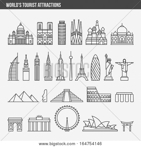 Flat line design style vector illustration icons set and logos of top tourist attractions, historical buildings, towers, monuments, statues, sculptures and modern architecture