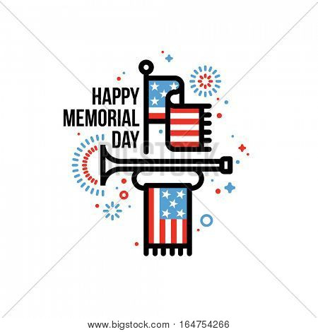 Happy Memorial Day vector greeting card with American flag and bugle