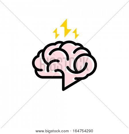 Brainstorm logo. Creative flat line style icon