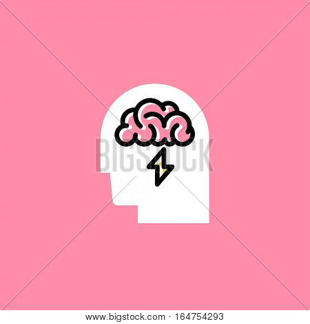 Line style icon of human head with brain on pink background. Brainstorming creative logo