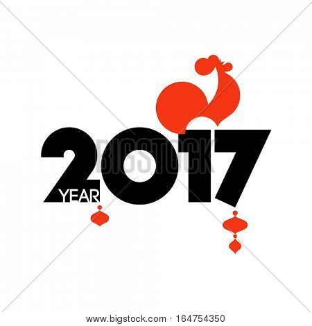 New Year design with silhouette of red fire rooster. Modern minimalistic vector illustration of cock as symbol of 2017 year on the Chinese calendar