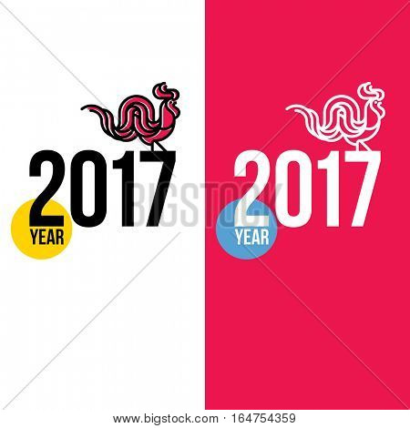 New Year design with silhouette of long-tailed rooster. Modern flat line vector illustration of cock as symbol of 2017 year on the Chinese calendar. Logo of red rooster