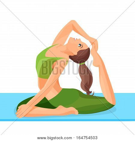 Female person doing yoga asana Eka Pada Rajakapotasana one legged king pigeon isolated on white background. Vector illustration of sitting and meditating girl in position of oriental style