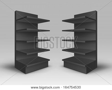 Vector Set of Black Blank Empty Exhibition Trade Stands Shop Racks with Shelves Storefronts Isolated on Background