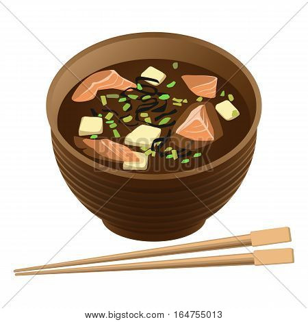 Japanese traditional food soup with salmon and tofu in deep round bowl and sticks for sushi near on white. Cooked hot dish with spicy ingredients in oriental realistic style vector illustration