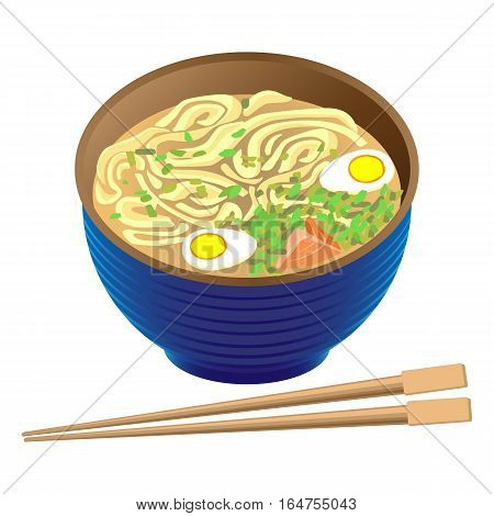 Japanese traditional food ramen soup in deep round bowl and sticks for sushi near on white. Pottage with noodles, eggs and herbs. Cooked hot dish with many ingredients in oriental style. Vector