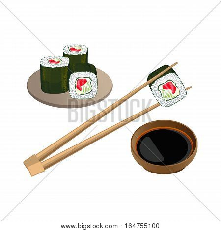 Sushi with salmon in chopsticks above bowl with soy sauce isolated on white background. Traditional japanese food. Realistic vector of cooked vinegared rice combined with seafood and vegetables