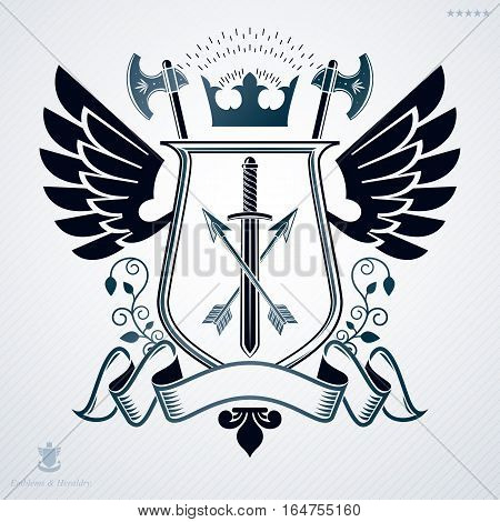 Vector emblem created in vintage heraldic design with armory and royal crown