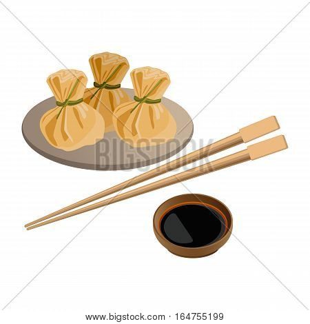 Three wontons on plate and soy sauce with sticks for sushi near. Traditional asian dish with vegetable, meat or mushroom filling for holidays. Vector illustration of chinese dish serving on white