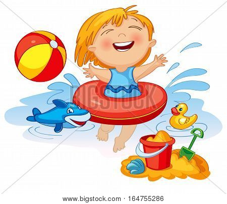 Funny little girl swims in a sea in an red life preserver. Happy child playing with sand at the beach in summer. Vector illustration. Icon