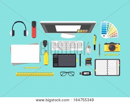 Cartoon Designer Workplace Top View Working on Computer in Office or Home Flat Design Style. Vector illustration
