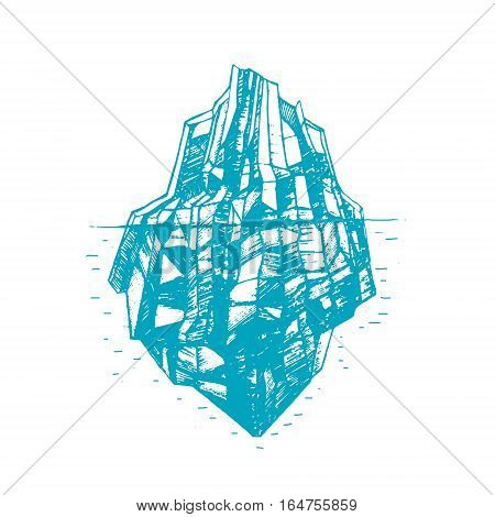 Iceberg Floating on a Sea Surface and Under Water Hand Draw Sketch. Vector illustration