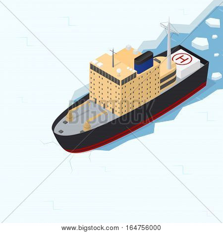Icebreaker Ship Isometric View in Ice Arctic Sea Transport for Shipping and Research. Vector illustration