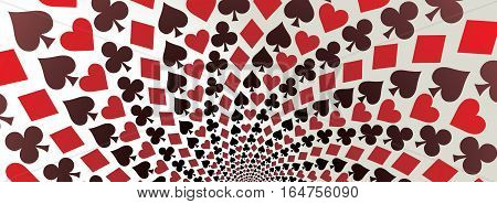 Card suit. Hearts, diamonds, spades and clubs. Playing cards. Op art. Vector illustration. Panorama