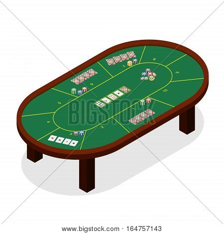 Green Poker Table Isometric View Casino Furniture for Interior Play Gambling Game. Vector illustration