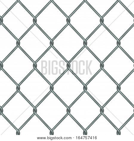 Realistic Rabitz Grid Metal Background Seamless Pattern Fence for Security and Protection. Vector illustration