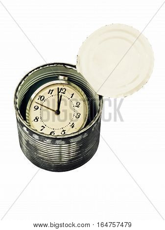 Canned time concept.Time preserved in tin can isolated on white background.