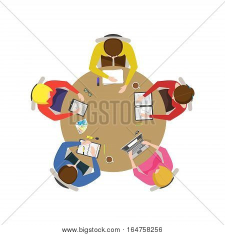 Cartoon Team Meeting Top View Business Presentation, Conference, Discussion or Brainstorming Flat Design Style. Vector illustration