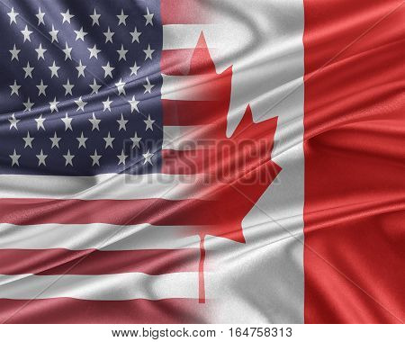 USA and Canada. Relations between two countries. 3D illustration.