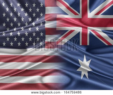 USA and Australia Relations between two countries. 3D illustration.