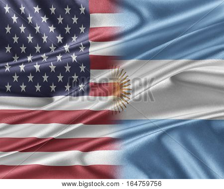 USA and Argentina. Relations between two countries. 3D illustration.