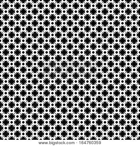 Vector monochrome seamless pattern. Abstract black & white geometric texture in oriental style, repeat tiles. Endless ornamental background, contrast design for prints, textile, digital projects, web