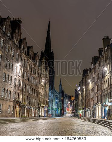 Edinburgh Scotalnd UK - November 14 2016: Lawnmarket street in Edinburgh at night