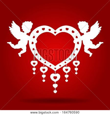 Twins Cupid hold heart on red background vector art design for wedding card or valentine's day
