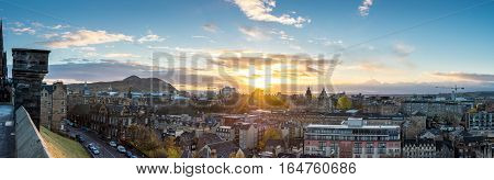 Edinburgh Scotland UK - 16 November 2016: Edinburgh cityscape as seen from Edinburgh's castle hill during sunrise