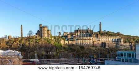 Calton Hill as seen from old town Edinburgh UK