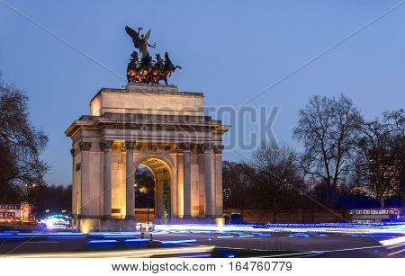 Wellington Arch at constitution hill London UK