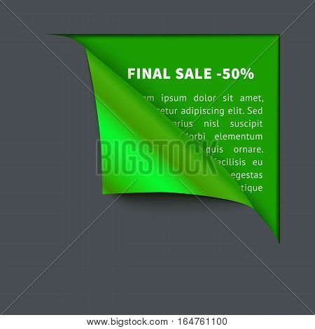 Realistic vector dark gray paper which gets rolled up. Paper curled corner on green background. Template for eco design, green.