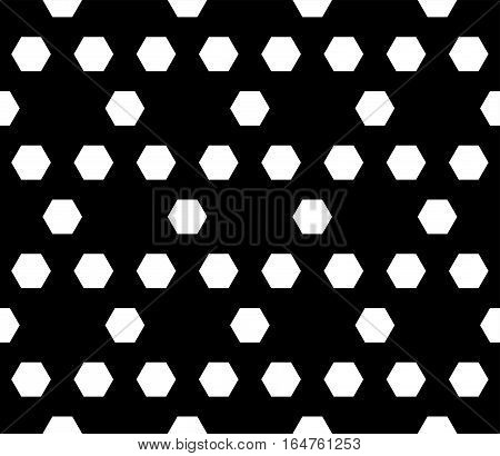 Vector monochrome seamless pattern. Simple modern geometric texture with hexagons. Illustration of hexagonal grid, lattice. Repeating black & white abstract background. Design for printing, embossing, decoration, textile, furniture