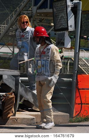 ISTANBUL/TURKEY-MAY 8, 2011 : Intervention marshal and fire marshal of Formula-1 DHL Turkish Grand Prix race in Istanbul Park Circuit.