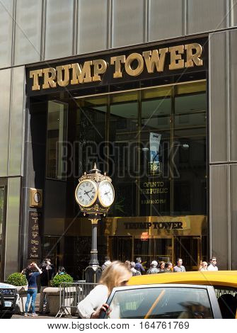 NEW YORK - APRIL 30 2016: Trump tower in midtown manhattan. Trump Tower serves as the headquarters for The Trump Organization and houses the primary penthouse condominium residence of U.S. President-elect Donald Trump.