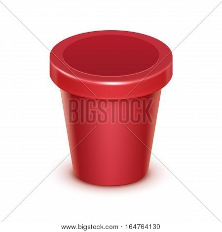 Vector Red Scarlet Blank Food Plastic Tub Bucket Container For Fruit Berry Strawberry Cherry Dessert, Yogurt, Ice Cream with Label for Package Design Mock Up Close up Isolated on White Background
