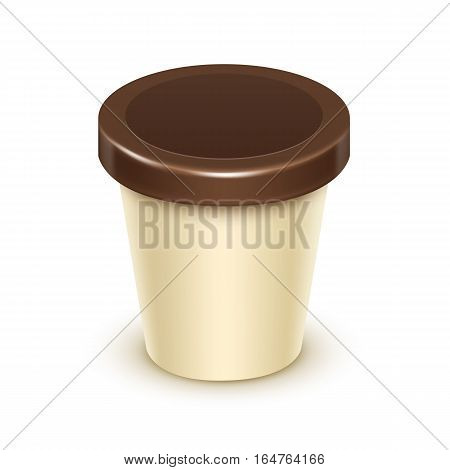 Vector Brown Cream Blank Food Plastic Tub Bucket Container For Vanilla Chocolate Dessert, Yogurt, Ice Cream with Label for Package Design Mock Up Close up Isolated on White Background