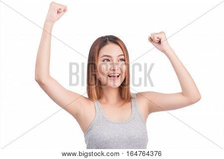 Portrait of young pretty asian woman hands up raised arms screaming yelling isolated on white background