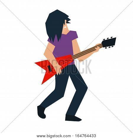 Cartoon Bass Guitar Player Rock Band Star Flat Design Style. Vector illustration