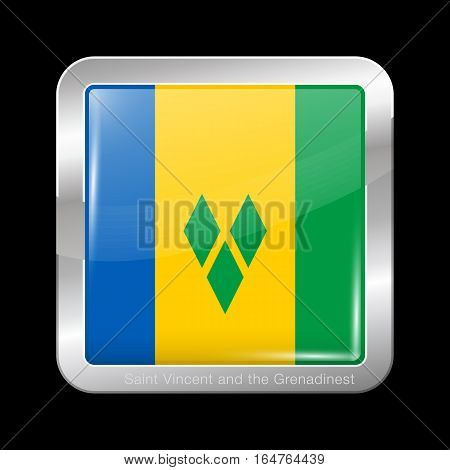 Flag Of Saint Vincent And The Grenadines. Metal Icon Square Shape