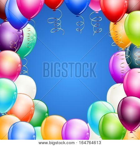balloons border over blue square background. vector