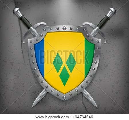 Flag Of Saint Vincent And The Grenadines. Vector Medieval Background