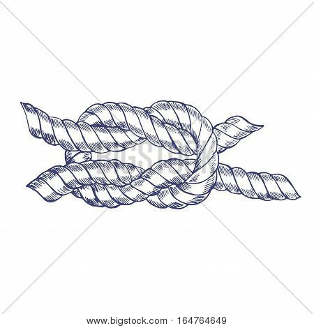 Sea Knot Rope Hand Draw Sketch. Vector illustration