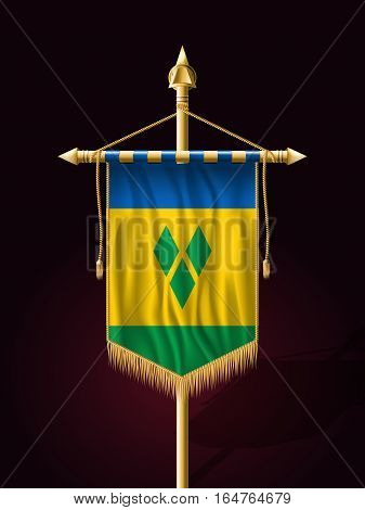 Flag Of Saint Vincent And The Grenadines. Festive Vertical Banner With Flagpole