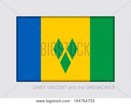 Flag Of Saint Vincent And The Grenadines. Rectangular Official Flag. Aspect Ratio 2 To 3