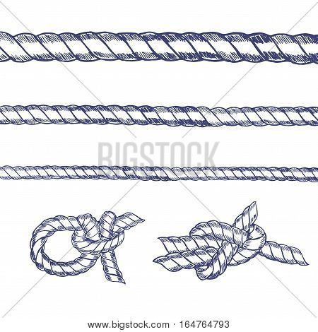 Sea Knot Rope Set Hand Draw Sketch. Vector illustration