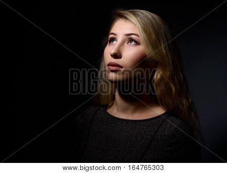 Pensive Beautiful Blonde Woman