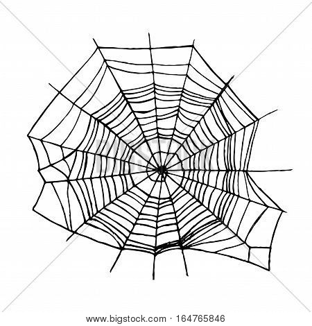 Spider Web Insect Trap Symbol of Danger, Horror and Fear Design Element. Vector illustration