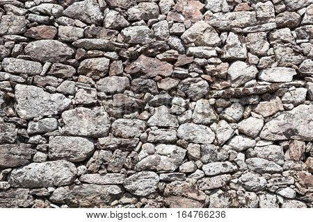 Outside stone walls stone, wall of small stones background